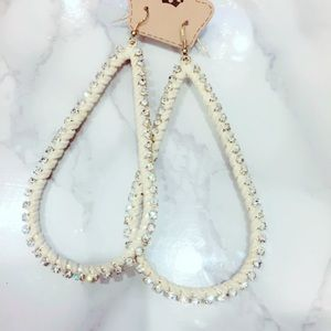Large Cream Faux Suede Bling Statement Earrings